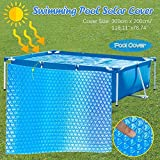 Jfs Rectangle Pool Cover 300cm x 200cm Dust Rainproof Solar Pool Cover Protector Foot Above Ground Protection Swimming Pool Cover Anti-Evaporation Pool Insulation Film,Blue