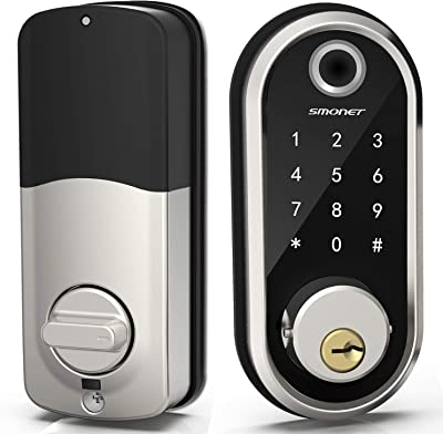 Smart Deadbolt, SMONET Fingerprint Electronic Deadbolt Door Lock with Keypad-Bluetooth Keyless Entry Keypad Smart Deadbolt App Control, Ekeys Sharing, App Monitoring Auto Lock for Homes and Hotel