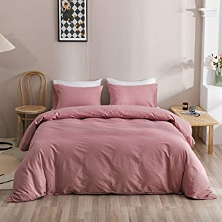 Wellboo Pink Duvet Cover Solid Color Bedding Cover Sets Queen Women Bean Red Bedding Sets Girls Light Color Quilts Cover F...