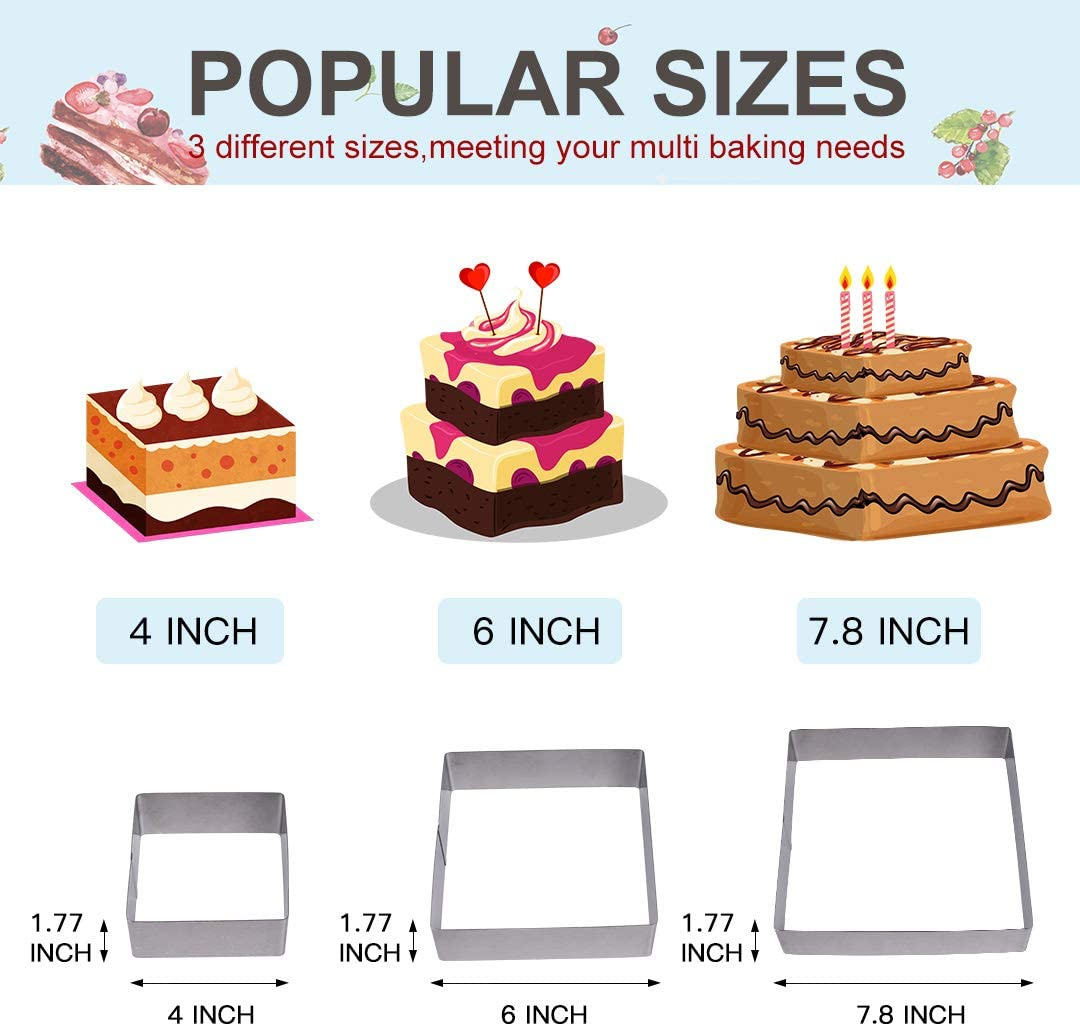 Round-shape,4 Inch 6 Inch 7.8Inch,Set of 3 Meichu Round Multilayer Anniversary Birthday Cake Baking Pans 3 Tier,Stainless Steel 3 Big Sizes Rings Round Molding Mousse Cake Rings