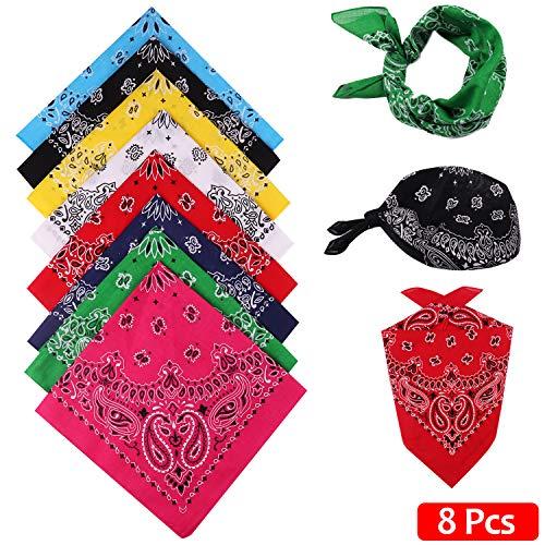 NewPI Bandana Kopftuch Halstuch Unisex Armtuch Haar Schal Vierecktuch Multifunktion 100% Baumwolle 55 x 55 cm, 8Pcs.