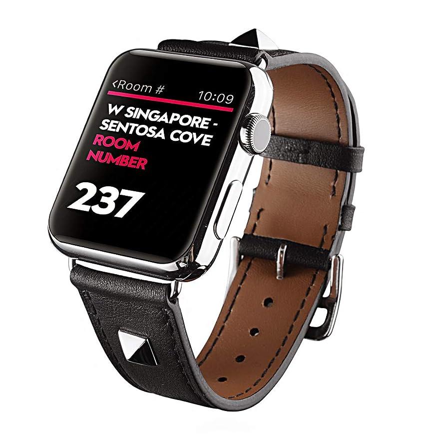 機知に富んだプレゼンターチャレンジ万屋-JP(工場直販品質保証) Apple Watch バンド 全13色 Apple Watch Series 4 / Series 3 / Series 2 / Series 1 に向け人気シンプルトゥールレザーストラップ バンド 38mm & 42mm & 40mm & 44mm 対応 イタリア上等精選レザー素材 人気手作りのシンプルトゥールレザーストラップ 交換ベルト (Apple Watch 44mm / 42mm, 黒色)