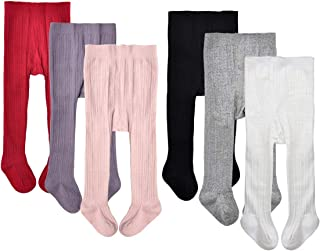 Baby Girls' Seamless Cable Knit Tights Cotton Leggings (Pack of 3/6)