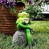 Aifeer Statue de grenouille verte assise sur une pierre en buvant du café - Décoration de jardin, terrasse, intérieur ou extérieur - Modèle Sculpture de 15 cm