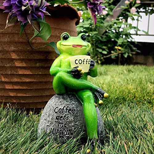 Aifeer Green Frog Statue Sitting on Stone Drinking Coffee Pose Figurine Garden Patio Indoor Outdoor Decoration Model Sculpture 15cm