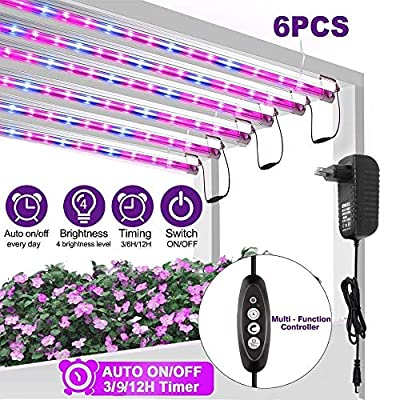 Led Grow Light Strip for Indoor Plants, Full Spectrum Auto On & Off Grow Lamp with Timer/Extension Cables Plant Lights Bar 4 Dimmable Levels for Indoor Plants Tent Seedling Hydroponics - 6 Pack