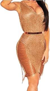 Women Nightclub Dress Hot V-Neck Sleeveless Bar Sexy Hollow Out Mini Dress Zulmaliu