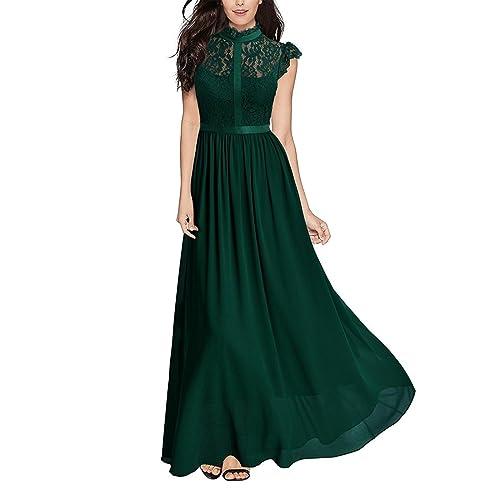 c16e1f59cf3a TOYIS Women's Sleeveless Retro Floral Lace Collar Long Evening Dress  Vintage Swing Bridesmaid Dress