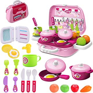 wodtoizi Kids toy Kitchen Cooking Set Pretend Play Cooking Set Fruit Vegetable Tea Playset Toy for Kids Early Age Developm...
