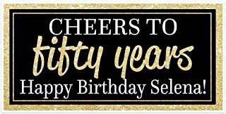 Cheers to 50 Years Birthday Banner - Black and Gold - Party Backdrop Decoration