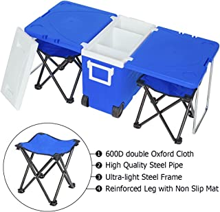 VINGLI Upgraded Multi-Function Insulated Beverage Rolling Cooler Warm, Picnic Camping Outdoor w/Table & 2 Portable Foldable Camping Fishing Chair Stool with Carrying Bag(Blue)