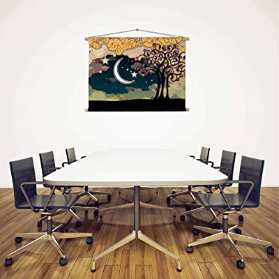 ArtzFolio Cartoon Style Landscape with Tree & Moon Canvas Fabric Painting Tapestry Scroll Art Hanging 17.1inch x 12inch (43.5cms x 30.5cms)