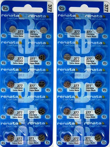 Renata 20 Silver Oxide 377 Zero Mercury Electronic Batteries