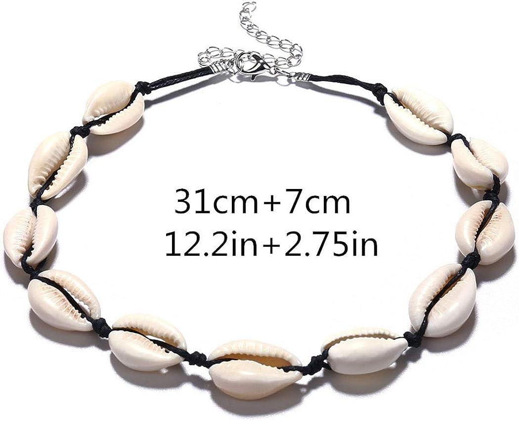Artmiss Boho Shell Choker Necklace Simple Weave Necklace Handmade Beach Jewelry for Women