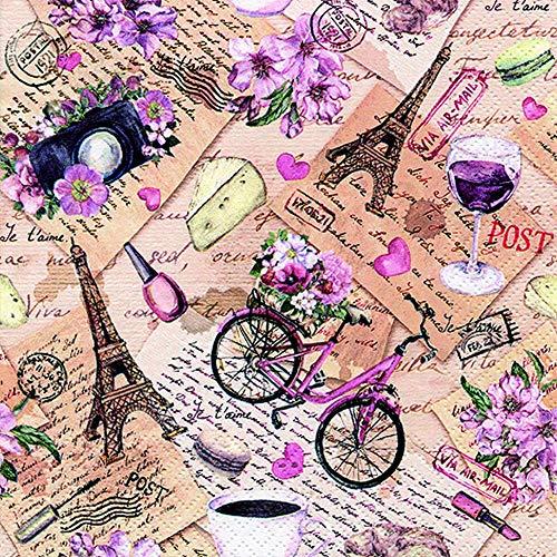 20 servilletas con vista en París como decoración de mesa para amantes...