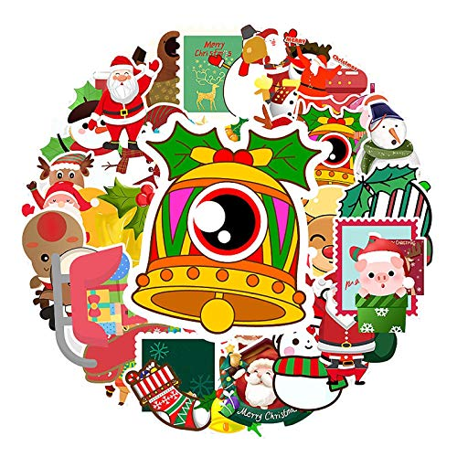 50 pegatinas navideñas para nevera, pegatinas de vinilo para bolsa de regalo para portátil, guitarra, maleta, monopatín, snowboard