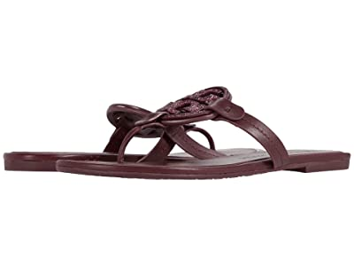 Tory Burch Metal Miller Embellished Sandal (Burgundy) Women