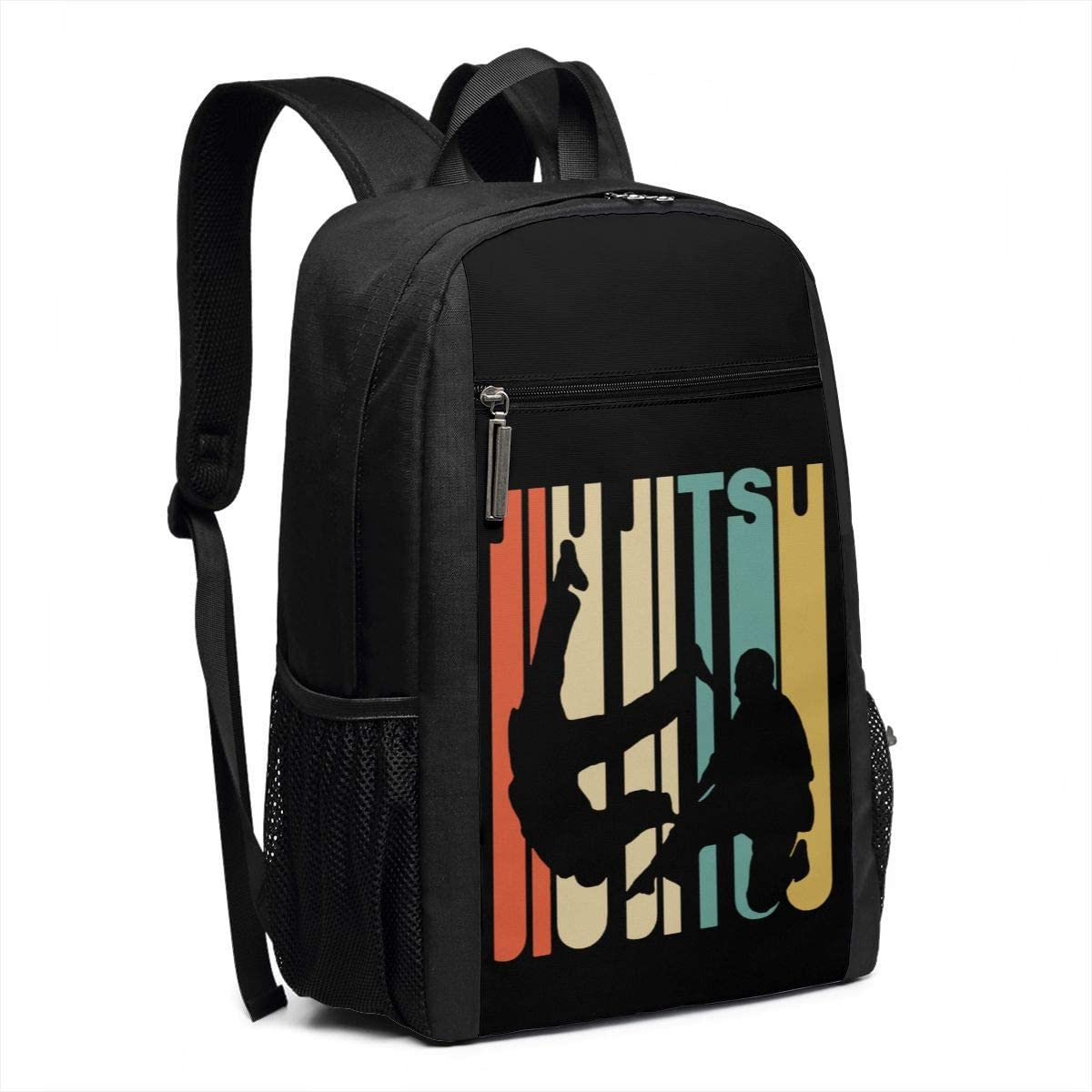 Vintage Style Jiu Jitsu Silhouette 17 Inch Business Bag for Teens Black