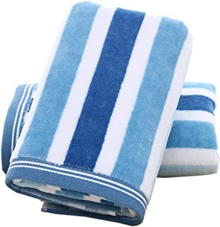 Pidada Hand Towels Set of 2 Striped Pattern 100% Cotton Absorbent Soft Towel for Bathroom 13 x 29.5 Inch (Blue)