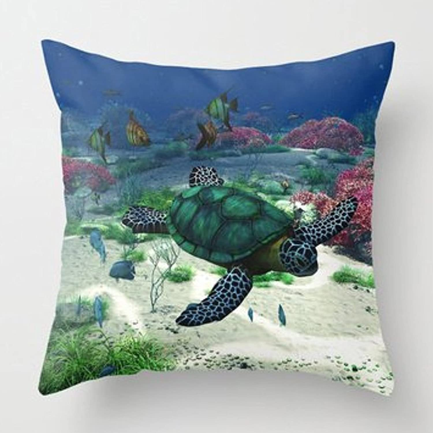 Aremazing Summer Ocean Theme Marine Life Super Soft Throw Pillow Case Cushion Cover Home Office Decorative 18 X 18 Inches (Sea Turtle)