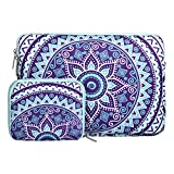 MOSISO Laptop Sleeve Bag Compatible with 13-13.3 inch MacBook Pro, MacBook Air, Notebook Computer with Small Case, Canvas Fabric Mandala Pattern Protective Carrying Cover, Ultra Violet and Green