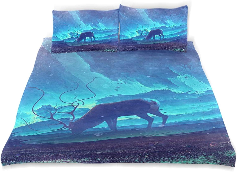 Mnsruu 3pièces d'élan et Nuit étoilée Housse de Couette, Parure de lit Enfant Housse de Couette avec 2taies d'oreiller