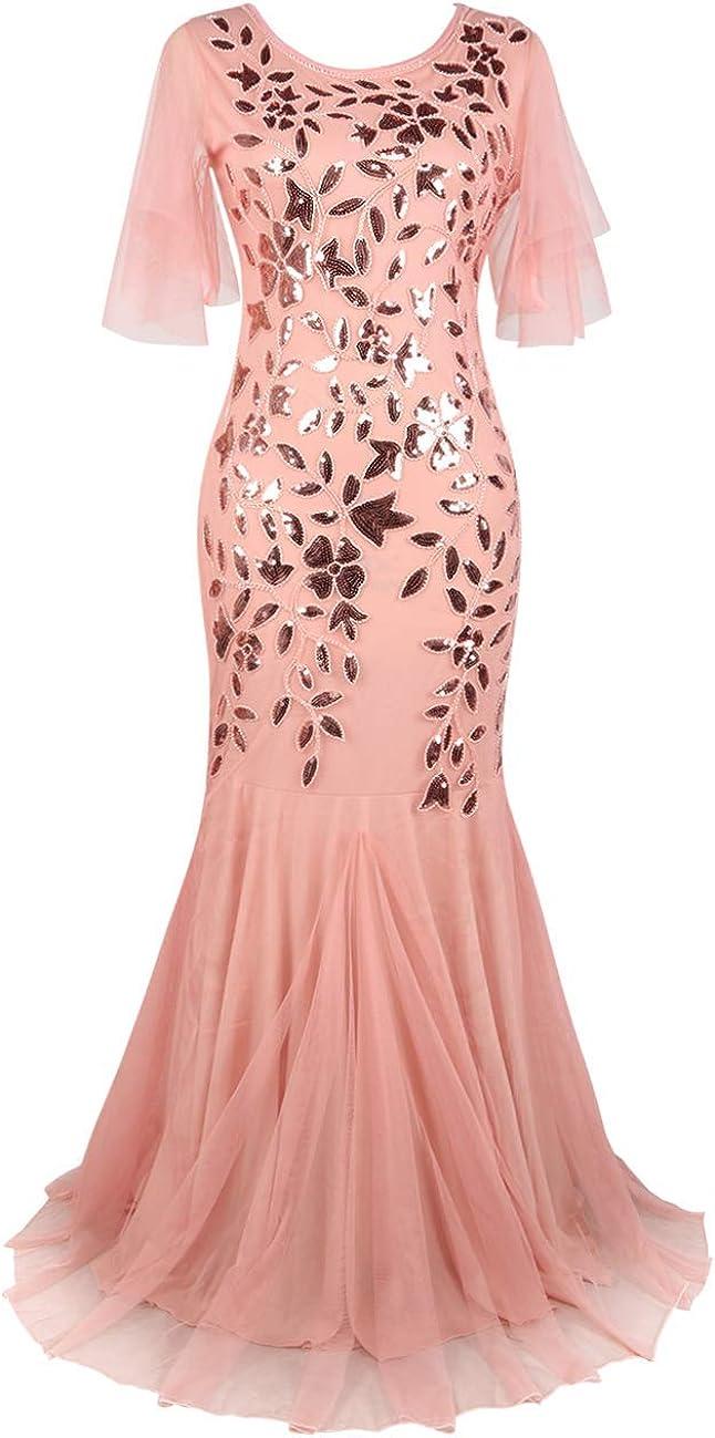 PrettyGuide Women's Evening Dress 1920s Sequin Mermaid Hem Maxi Long Formal Ball Gown