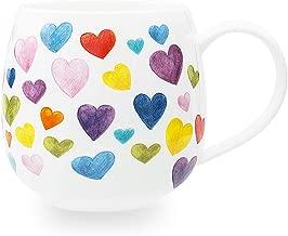 Cute Mugs Colorful Heart Shaped Ceramic Coffee Mug Cups, 13oz Fine Bone China Heart Mug Perfect Birthday Gifts Christmas Mugs for Women Mom Friends Coworker Boss