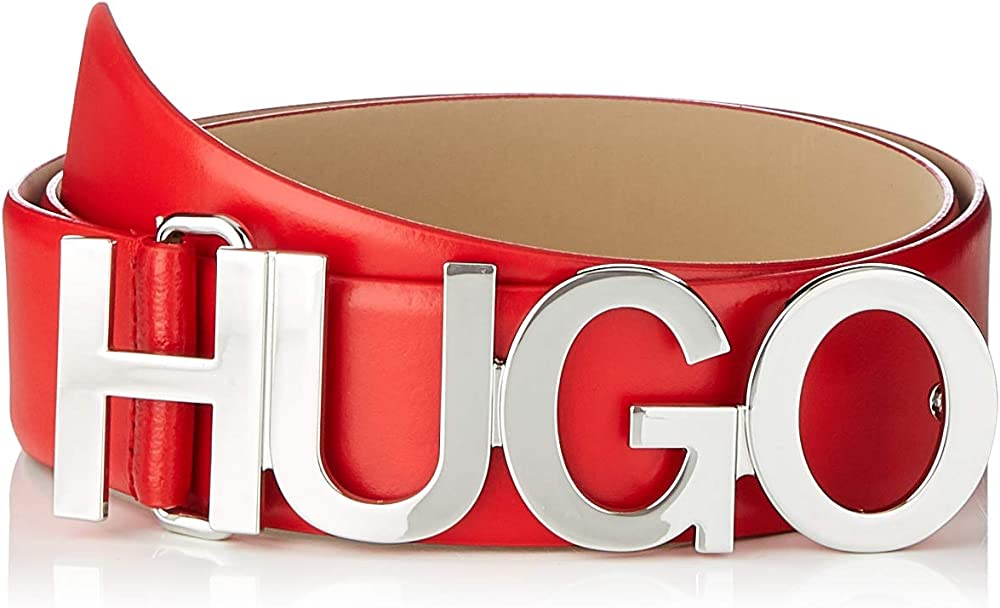 Hugo boss, cintura per donna, in pelle,con logo fibbia color argento 50391327