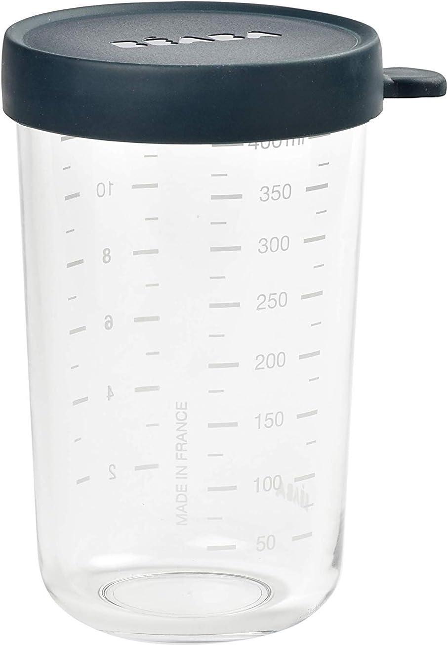 BÉABA Tarros de Conservación para Bebé, Tupper en Cristal, Resistente al calor, Recipientes para guardar la comida de Bebé, Con indicador de cantidad, 1x 400ml, Azul oscuro