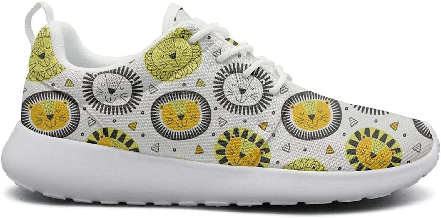 FEWW11 Women Cute Lightweight shoes Sneakers Smile Lion Head Sleeping Breathable Sport Lace-Up