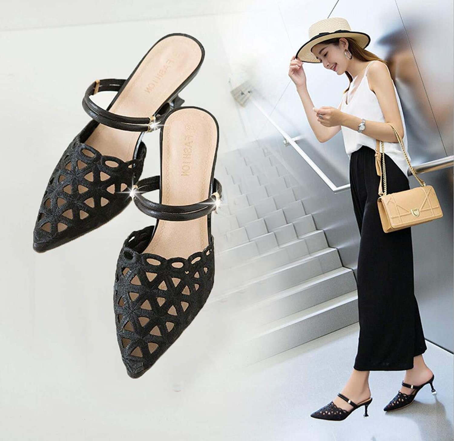 One shoes Two Women's Sandals 2019 Summer New Hollow Pointed Stiletto high Heel Fashion Sandals Women,A,US6 EU36 UK4 CN36