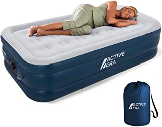 Active Era Premium Air Mattress with Built-in Electric Pump & Raised Pillow – Puncture Resistant with Waterproof Flocked Top, Elevated Inflatable Air Bed for Guests