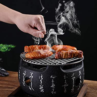PUXING Japanese Tabletop BBQ Grill, Portable Round Barbecue Stove Food Charcoal Stove with Wire Mesh Grill and Base, for Yaki