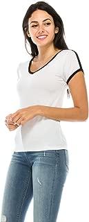 Junior Women Jersey Short Sleeve V-Neck Summer Basic Lightweight Comfy Ringer Raglan Baseball tee t Shirt