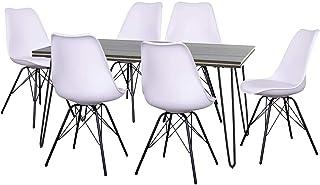AltoBuy ASCA - Ensemble Table 180cm + 6 Chaises Haga Blanches