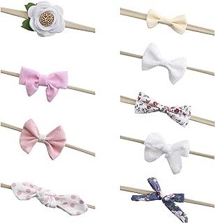 DELEBAO Baby Girl Flower Bow Nylon Headbands Hairbow for Newborn Infant Toddler Kids Set of 10