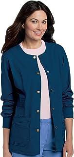 Landau Women's Pre-Washed Soft Stretch 2-Pocket Warm Up Scrub Jacket
