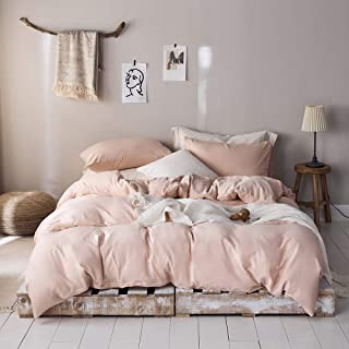 ROOMLIFE Girls Queen Duvet Cover Blush Pink Bedding Sets Queen Blush Comforter Cover Queen Size Hotel Microfiber Bedding Q...