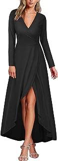 KILIG Womens V Neck Long Sleeve Fall and Winter Elegant Asymmetrical Casual Maxi Dresses