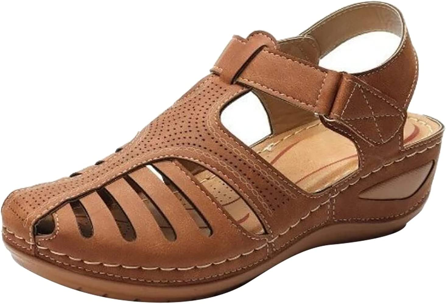 Cbcbtwo Women's Summer Sandals Casual Bohemia Gladiator Wedge Shoes Comfortable Ankle Strap Outdoor Platform Sandal