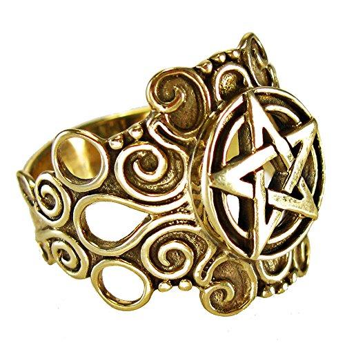 Moonlight Mysteries Large Bronze Ornate Pentacle Pentagram Ring Pagan Wiccan Jewelry (sz 4-15) sz 8.5