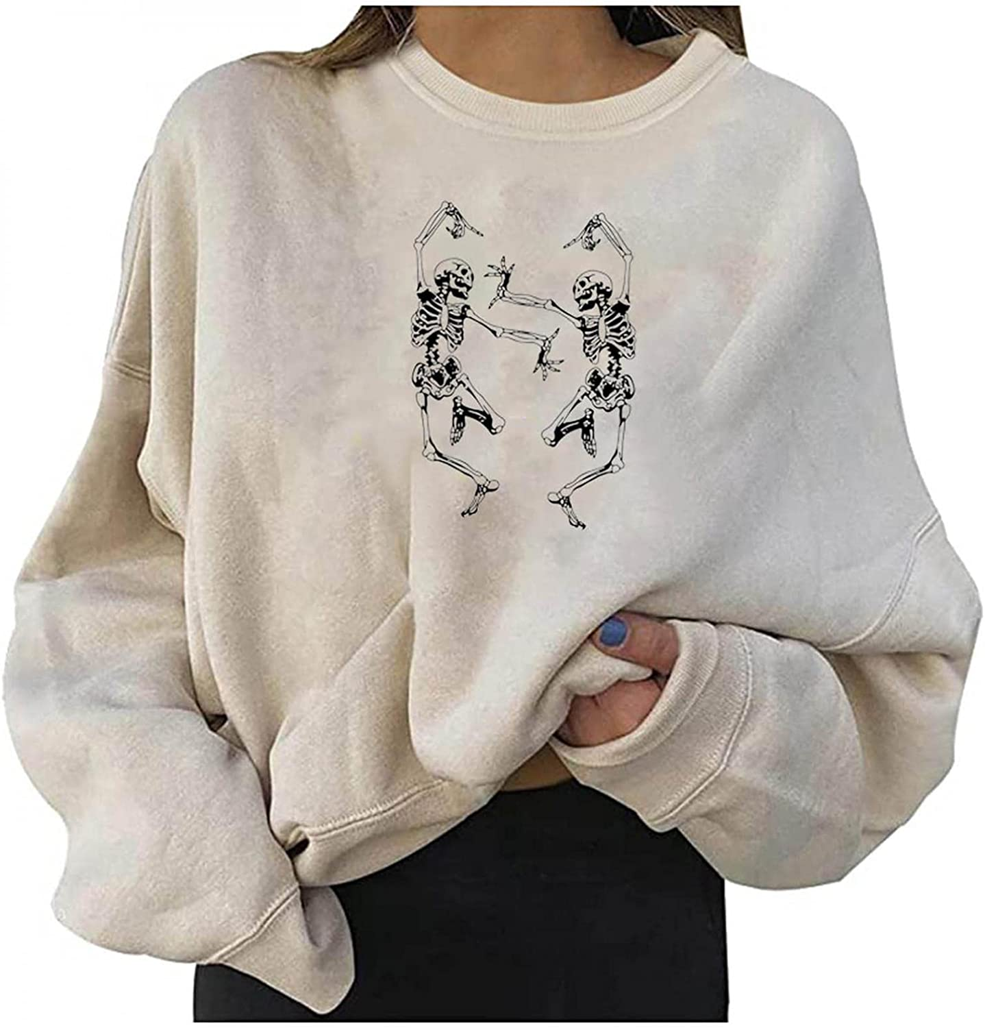 SDCSQ 2021 Women's Sporty Sweatshirt Crew Neck Long Sleeves Pullover Ribbed Cuffs Hems Sweaters Loose Casual Tops