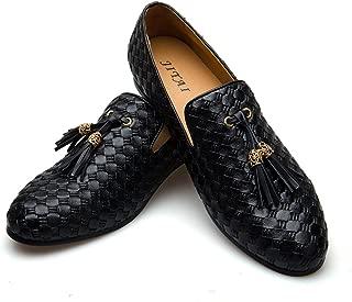 Men's Vintage Velvet Bv Embroidery Noble Loafer Shoes Slip-on Loafer Smoking Slipper Tassel Loafer