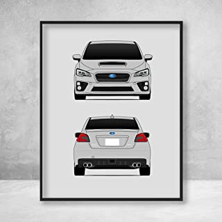 Subaru WRX Impreza G4 Fourth Generation (2014-2017) Front and Rear Poster Print Wall Art Decor Handmade