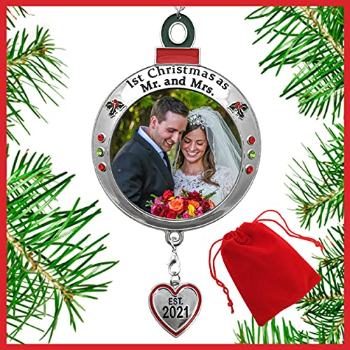 BANBERRY DESIGNS Wedding Ornament - 1st Christmas as Mr. and Mrs. EST 2021 - Red and Green Picture Ornament Shaped like an Ornament Bulb - Red Storage Bag Included - Our First Xmas As Husband and Wife