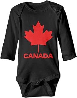 Printed Canadian Flag Canada Maple Leaf Funny Infant Baby Girl Boys Long Sleeves Romper Jumpsuit Bodysuit