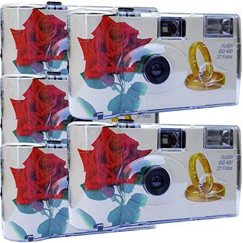 5 x PHOTO PORST matrimonio Camera / Fotocamera usa e getta 'ROSA ROSSA + ANELLI'