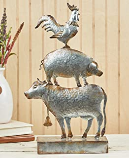 The Lakeside Collection Stacked Farm Animal Sculpture - Decorative Cow, Pig Rooster - Rustic Galvanized
