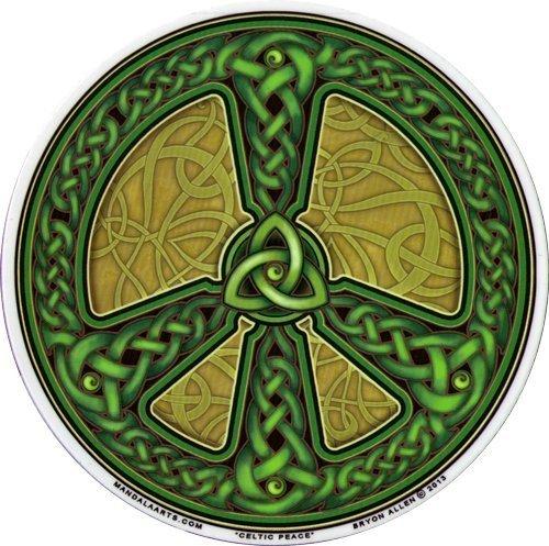 """Celtic Peace – Peace Window Sticker/Decal - Mandala Arts Circular 4.5"""" Translucent"""